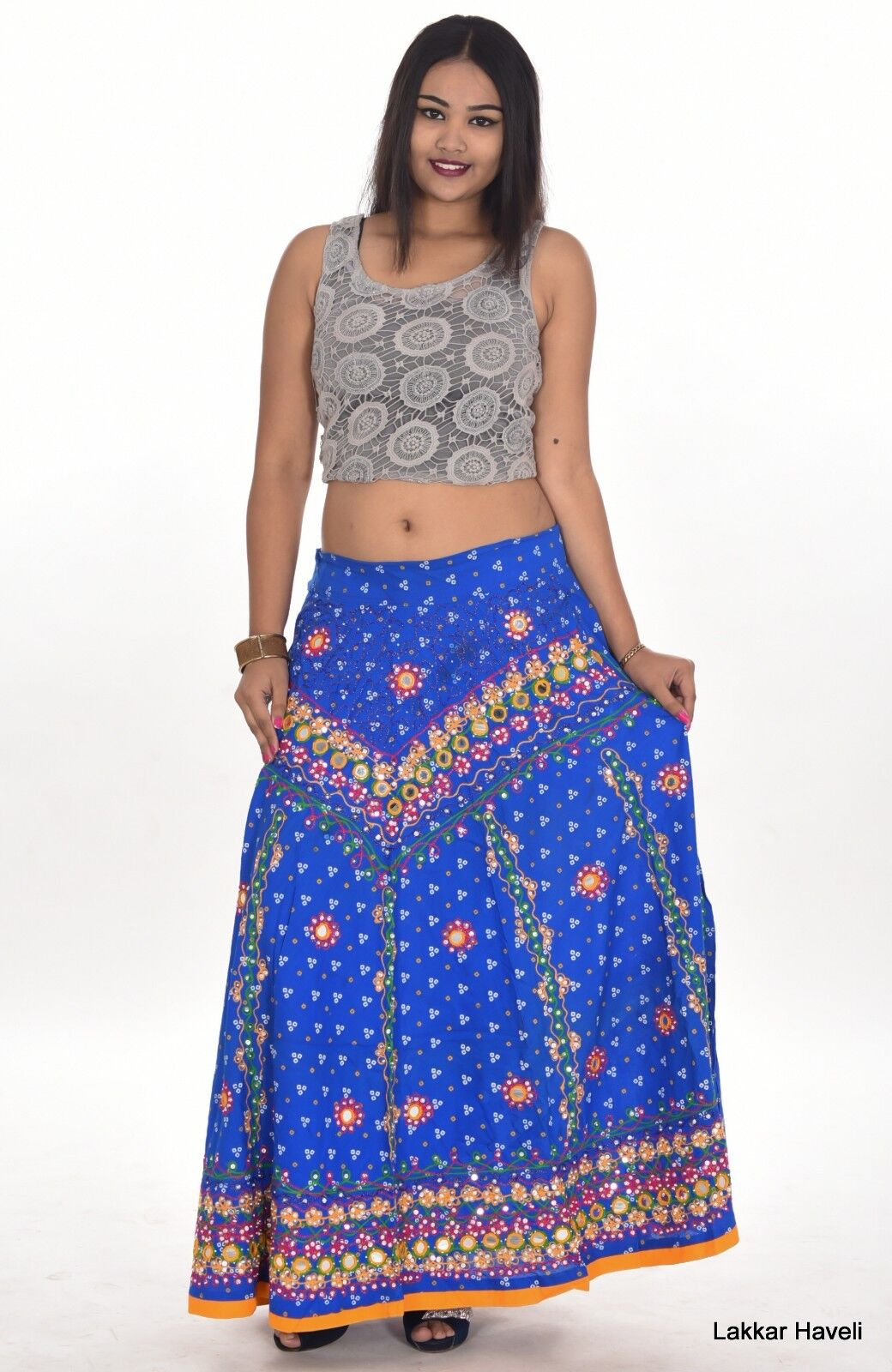 Indian 100% Cotton Women's Long Skirt Hippie bluee color Plus Size Embroidered