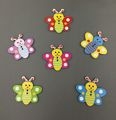 20-100PC Multicolor Bee Pattern Wooden Buttons Fit Sewing and Scrapbook 35MM