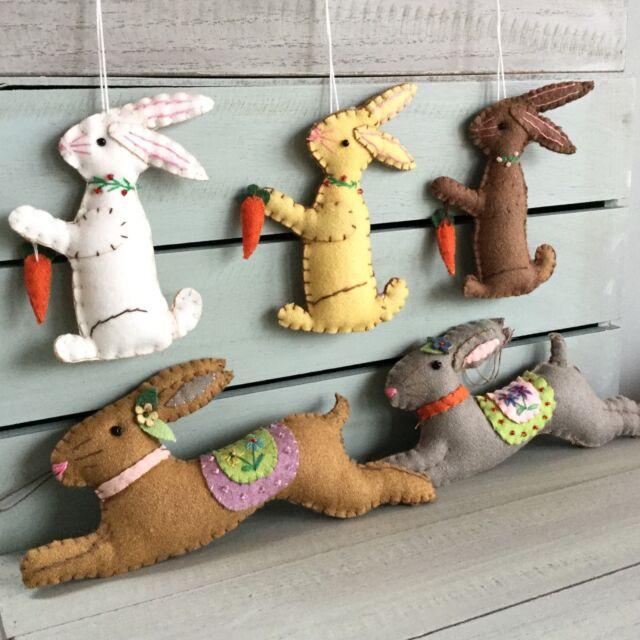 Felt Easter Bunny Decoration Gisela Graham Gift Hanging Vintage Craft Embroidery