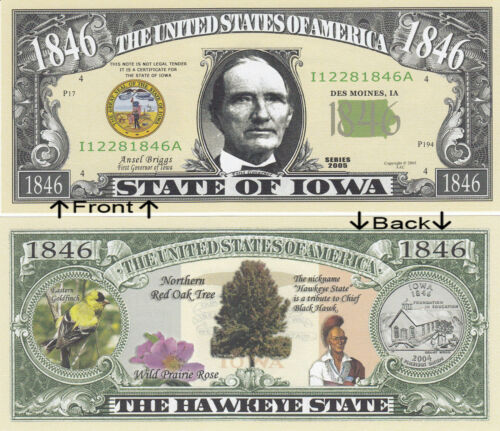 1846 U.S.A State of Iowa IA Novelty Notes Bills 1 5 25 50 100 500 or 1000