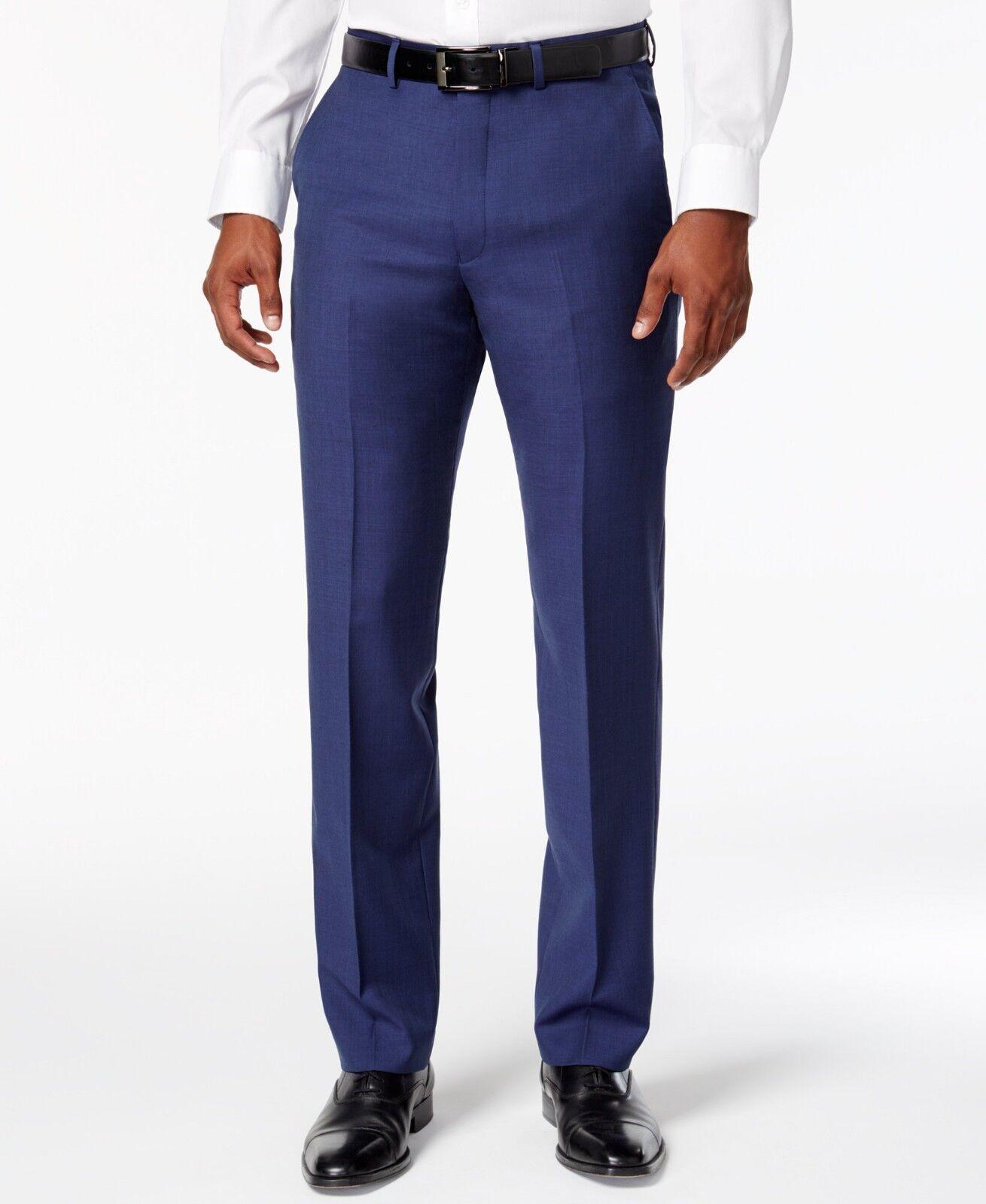 RYAN SEACREST Mens blueE FIT WOOL FLAT FRONT DRESS PANTS TROUSERS 34 W 34 L