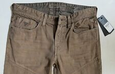Guess Men Jeans 32 W x 33 Slim Tapered Brown Slim Low Rise Brand New with Tags