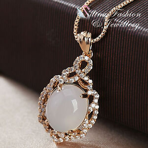 18K-Rose-Gold-Plated-Semi-Precious-Stone-amp-Diamond-Vintage-Oval-Cut-Necklace