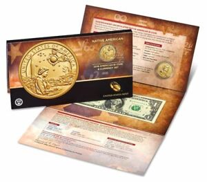 2019-P-Enhanced-Sacagawea-1-Coin-amp-Currency-Set-Native-American-Space-19NR-UNC