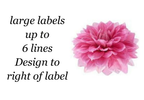 Dahlia Flower Small or Large Sticky White Paper Stickers Labels NEW