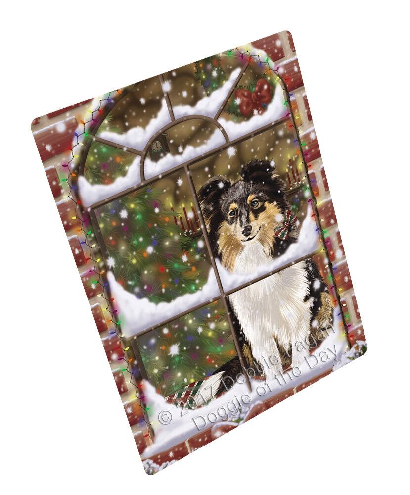 Come Home For Christmas Shetland Sheepdog Dog Woven Throw Sherpa Blanket T265