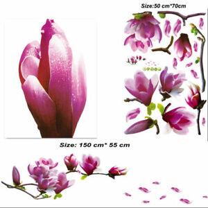 PVC-Magnolia-Flowers-Tree-Wall-Sticker-Decals-Art-Paper-Decor-Mural-Ornament-Hot