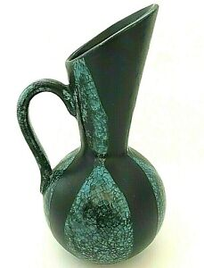 Vintage Mid Century ROYAL HAEGER RC82 Pottery Vase Black Blue Drip Mint USA