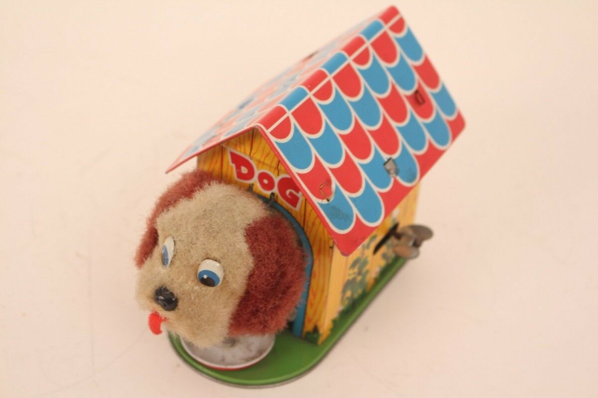 Dog Japan Tin Toy Kennel with Plush Dog Tin Toy Puppy Dog Eating