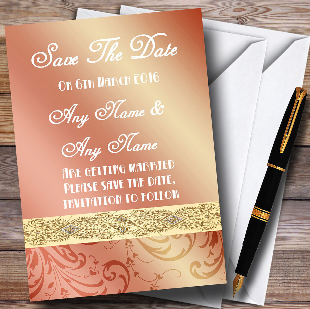 Peach Coral Damask Wedding Save The Date Cards