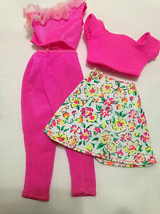 Genuine-Mattel-Barbie-Doll-Clothes-4-PCs-Lot-Floral-Skirt-PINK-Leggings-amp-Tops