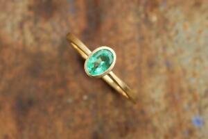 14 K Yellow Gold Oval Green Emerald(Panna) Solitaire Gemstone Ring For Women