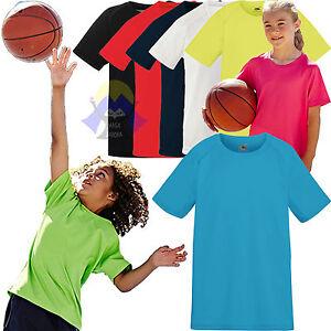 T-shirt-PERFORMANTE-da-Bambini-FRUIT-OF-THE-LOOM-Poliestere-a-Manica-Corta-SPORT