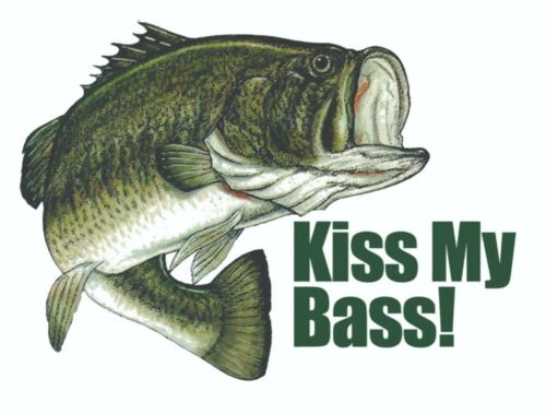 KISS MY BASS FISHING STICKER DECAL LABEL VINTAGE DECAL MECHANIC TOOLBOX USA