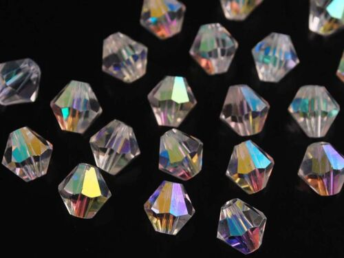 1 of 1 - 50pcs 8mm Bicone Faceted Crystal Glass Findings Loose Spacer Beads Clear AB
