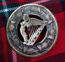 "Traditional Scottish Thistle Kilt Fly Plaid Brooch Celtic Harp Antique 3""/Pins"