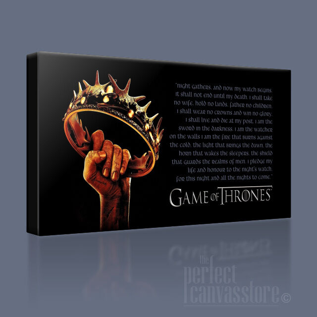 Game of thrones couronne + citation emblématique toile impression art williams upgrade 120x56cm