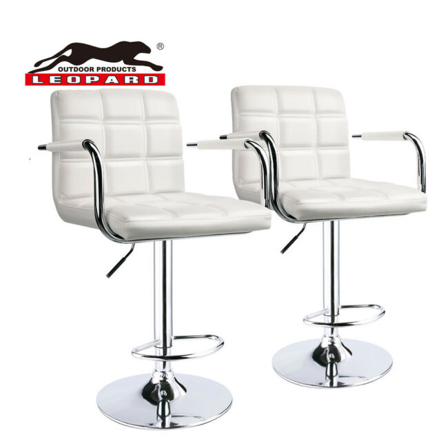 Leopard Swivel Square Back Adjule Bar Stools With Arm Set Of 2 White