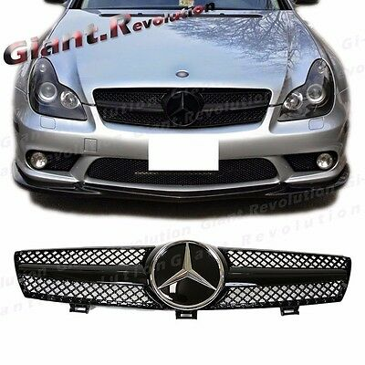 For 04-08 Benz W219 CLS500 CLS63AMG Sedan SLS Type All Gloss Black Front Grille