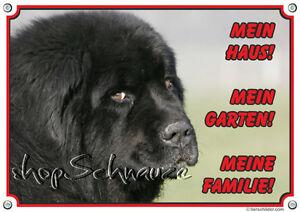 Dog Shield - Panneau d'avertissement noir en métal de Terre-Neuve, qualité 1a