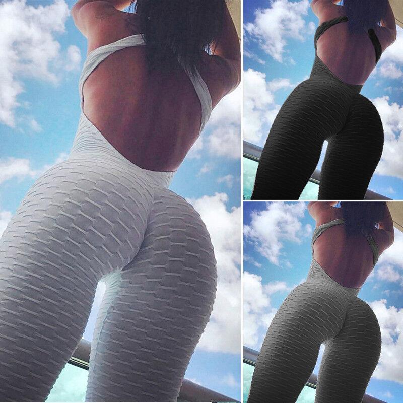Women Sport Gym Yoga Running Fitness Jumpsuit Bodysuit Pant Leggings Athletic CA