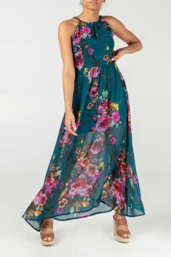 44 38 40 xl London 42 Sommer Petrol 36 Blüten Blumen Maxikleid Kleid S Qed RSvwHOqnH