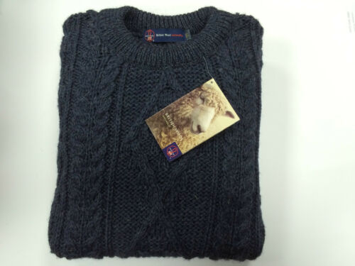 Mens 100/% British Wool Navy Arran Jumper Brand New With Tags