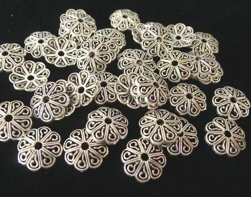 100 große Perlkappen Endkappen Perlenkappen Farbe antiksilber #S453
