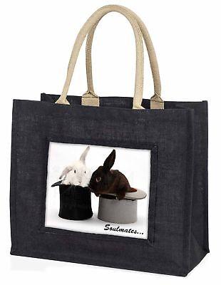 Kaninchen in Zylindern  Soulmates  große schwarze Einkaufstasche WEIHNACHTEN