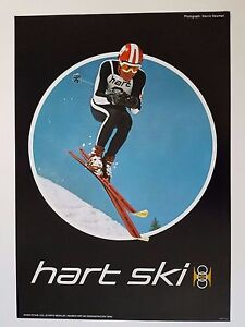VINTAGE 1960s HART DEMONSTRATION TEAM SKI EQUIPMENT POSTER VAIL SKIS SKIER STAUB