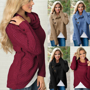 05fa38645 Womens Long Sleeve Button Cowl Neck Ladies Tops Knitted Sweater ...
