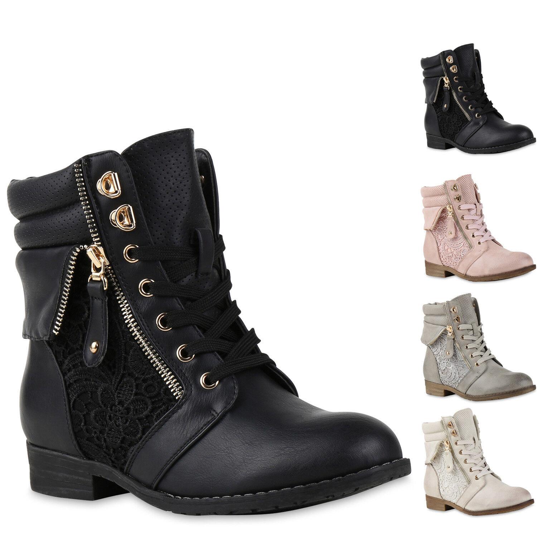 Damen Stiefeletten Boots Schnürstiefel Spitze Used Look Schuhe 815631 New Look