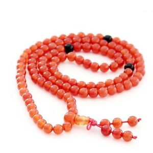 Red-Agate-Gem-Tibet-Buddhist-108-Prayer-Beads-Mala-Necklace-6mm