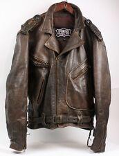 FIRST Genuine Thick Rugged Leather Brown Motorcycle Biker Western Jacket Men XL