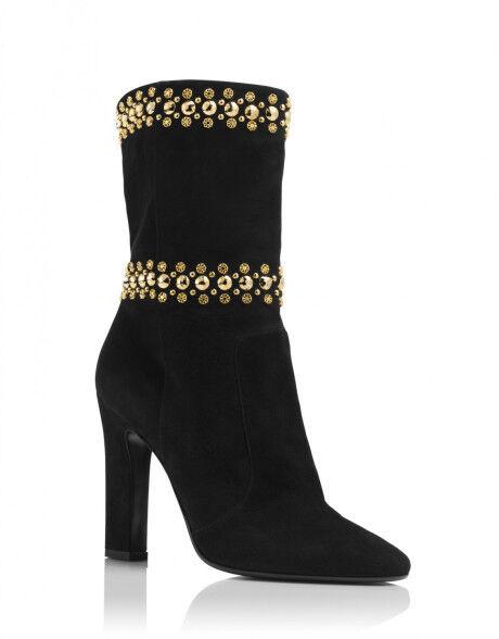 895 895 895 nuevos Tamara Mellon Negro Gamuza Downtown oro Clavos botas Zapatos 40.5  A la venta con descuento del 70%.