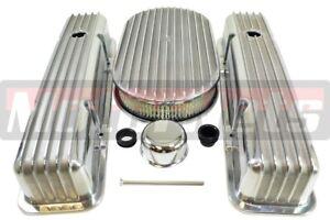 "Full Finned Chevy SBC Short Polish 15/"" Engine Dress Up Kit 283 350 V8 Nostalgic"
