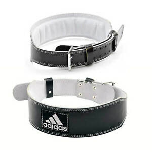 Adidas Leather Weight Lifting Belt Gym Power Training Lumbar Back ... 05b4fecbb02