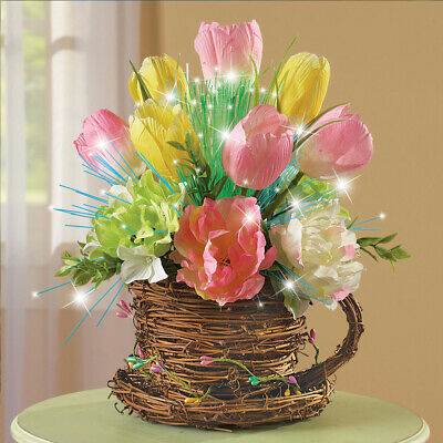 Lighted Tulips Centerpiece Decoration Spring Floral Home Table