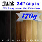 "24""CLIP IN REMY HUMAN HAIR EXTENSION Brown Blonde Black"