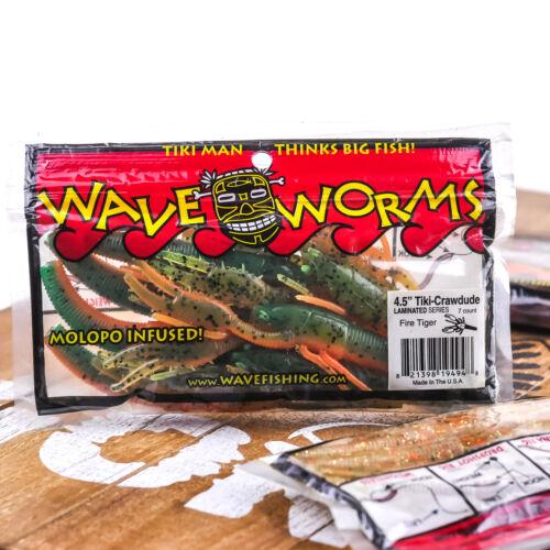 "PICK WAVE WORMS Tiki Crawdude Soft Craw Creature Texas Rig Flip Bait 4.5/"" 7ct"