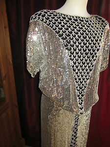 pailletten rock und oberteil silber schwarz festlich perlen abendkleid 42 44 46 ebay. Black Bedroom Furniture Sets. Home Design Ideas