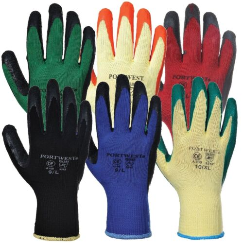 PORTWEST A100 latex grip glove XXL size small all colours