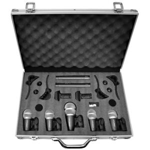 Pyle-PDKM7-7-Microphone-Wired-Drum-Kit-with-Carrying-Case-amp-Mounting-Accessories