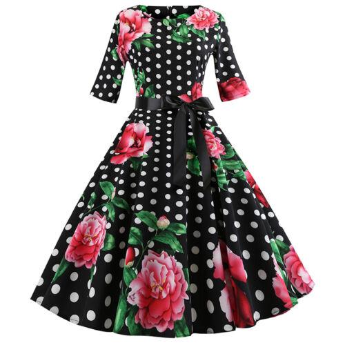 Womens 50s Vintage Floral Midi Sleeve Rockabilly Hepburn Swing Pinup Party Dress