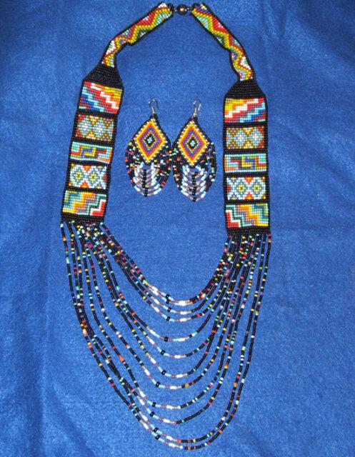 Beaded Necklace & Earrings Set Black & Multi Colored Woman's Regalia New 04