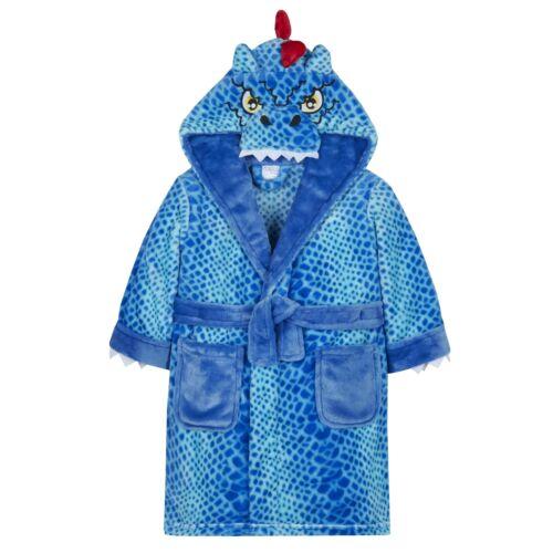 Childrens Blue Dinosaur Dressing Gown Robe ~ 2-6 Years