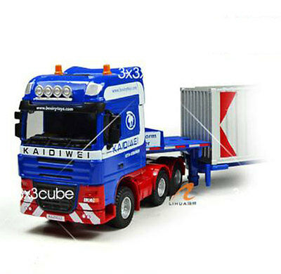 Blue 1:50 Heavy-duty telescopic container truck flatbed Project Car Diecast Car