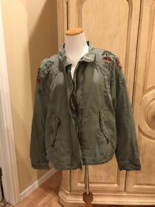 New Xxl Eagle American Størrelse Broderet Womens Jacket Cotton rZrHpxTq