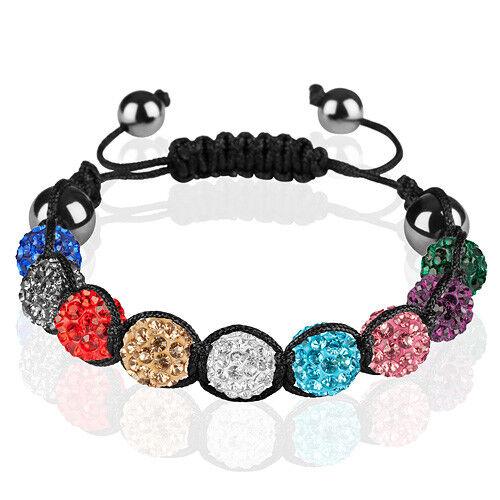 Original Shamballa Schmuck Armband Hämatit Glücksbringer Kristall zweifarbig