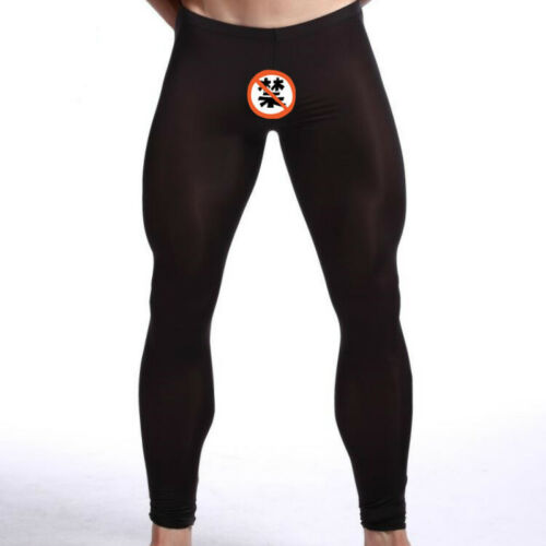 Men Transparent Silky Johns Long Warm Thermal Gym Yoga Thin Tight Pants